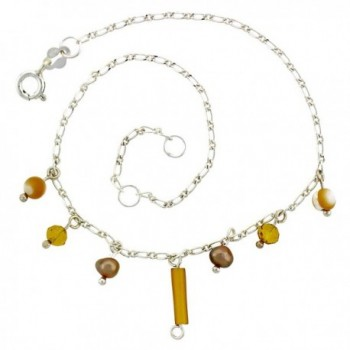 Sterling Silver Anklet Natural Brown Pearls Citrine Beads- adjustable 9 - 10 inch - CO113EOMY37
