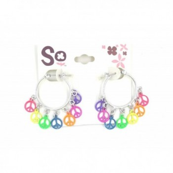 New Pair of Colorful Rainbow Peace Sign Earrings - C012N42FNDY