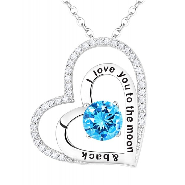 Aquamarine Swarovski Birthstone Necklace Anniversary - Aquamarine March Birthstone Heart Necklace - CY1836Y6HTK