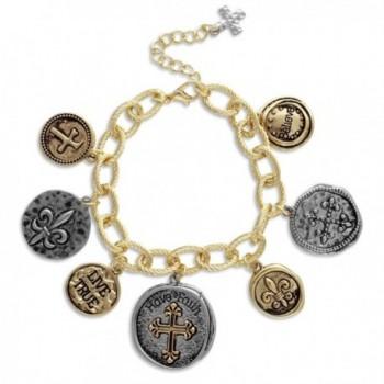 Textured Link Charm Bracelet with Two Tone Coins Faith- Cross- Fleur de Lis - CN11MV1B7CD
