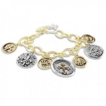 Textured Charm Bracelet Coins Faith