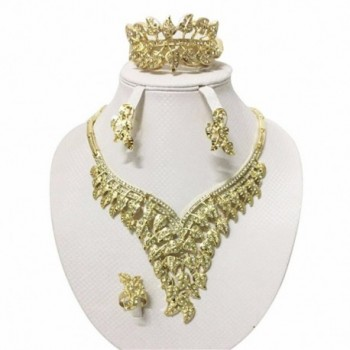 Moochi 18K Yellow Gold Plated Crystal Embedded Leaf Shape Scarf Necklace Jewelry Set - C312O05V7MF