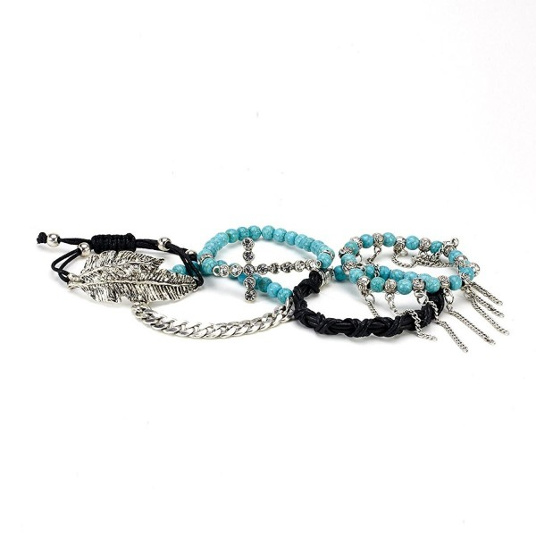 Aris Bohemian Turquoise Beaded Stretch Bracelets Stack Bundle: Bracelets & Bag (Cross Leave Turquoise) - CK12G0AACGF