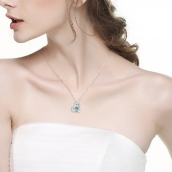 Aquamarine Swarovski Birthstone Necklace Anniversary in Women's Pendants