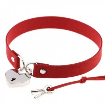 "FM42 Openable Heart Lock Charm 0.67"" Width Simulated Leather Cloth Choker (16 Colors) - C218270EX70"