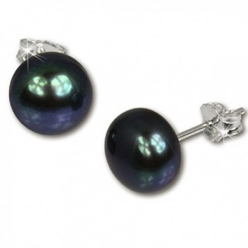 Sterling Silver AAA+ Quality Button Push Back Handpicked Freshwater Cultured Stud Pearl Earrings 7.5-8mm - Black - CC184KKK2DX