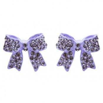Fashion Crystal Pave Bow Ribbon Stud Earrings Purple - CT118TQMC73