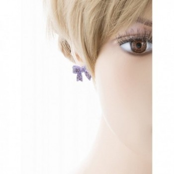 Fashion Crystal Ribbon Earrings Purple