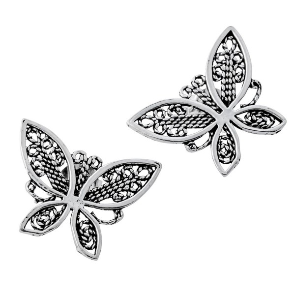YACQ Jewelry 925 Sterling Silver Butterfly Wings Flower Earrings for Women Teen Girls - CE27A - C6186DGW7OE