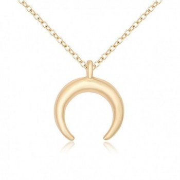 TUSHUO Simple Double Horn Pendent Crescent Moon Bohemia Long Necklace for Couples-Adjustable Chain 18inch - C1188GSMKAN