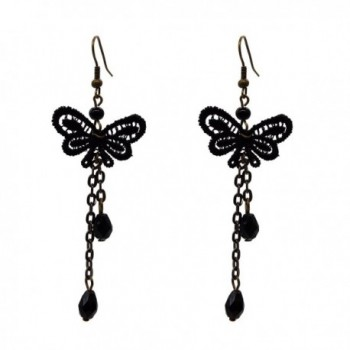 RareLove Lolita Black Lace Butterfly Beads Fringe Dangle Earrings For Women - Black - C112DUA53B3