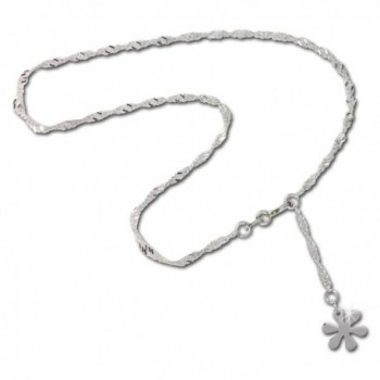 SilberDream anklet silver flower- 10.03 inch- 925 Sterling Silver SDF018I - CL11EAQTMEL