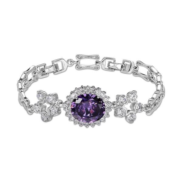 """OKAJEWELRY 10.28Ct Oval Cut Sapphire Cubic Zirconia CZ 8.2"""" Flower Tennis Bracelet 8.2 Inches - CL11ZYHYC05"""