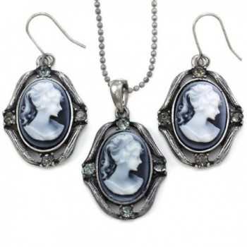 Gray Cameo Necklace Pendant Dangle Drop Earrings Fashion Jewelry Set - CP119A00ISV
