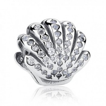 The Kiss Shell With Clear CZ 925 Sterling Silver Bead Fits European Charm Bracelet - CP17Y0CL43A