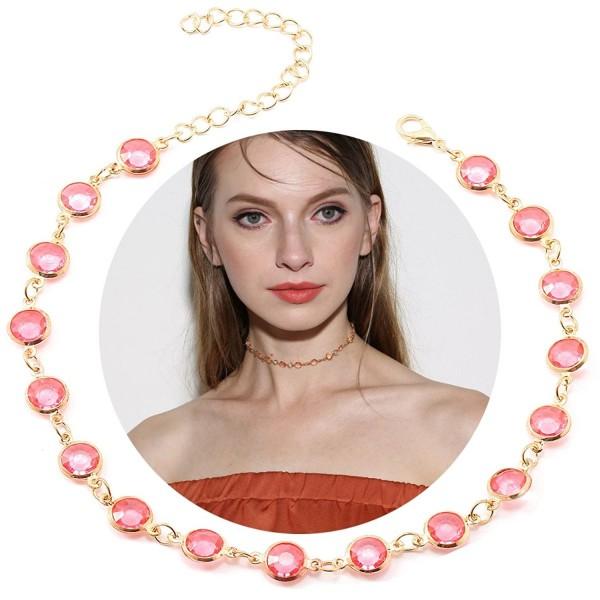 Tpocean 1PCS Pink Elegant Beaded Gold Chain Tatoo Choker Punk Gothic Necklace for Women Girls Gifts - CE185EU3ADO