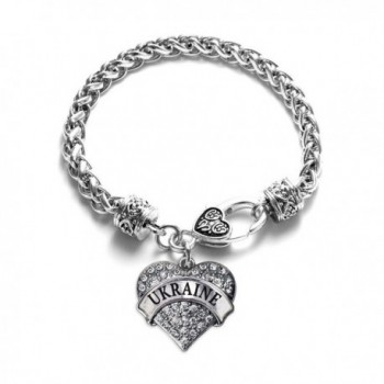 Ukraine Pave Heart Charm Bracelet Silver Plated Lobster Clasp Clear Crystal Charm - CE123I3ML1N