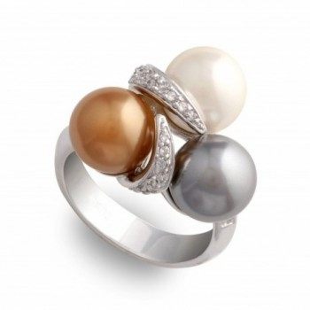 JanKuo Jewelry White Gray And Champagne Color Simulated Pearl Cocktail Ring with Gift Box - C3115BYTRMT