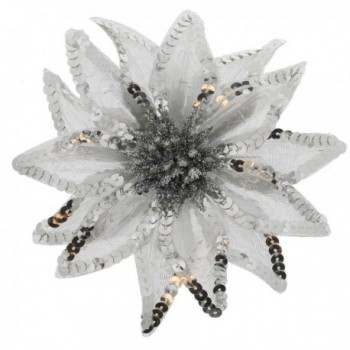 Women's Christmas Pointsettia Sequin Flower Pin- Clip- Hair Tie - Silver - CU12NGEBQ9Y