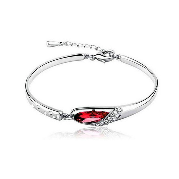 KATGI Fashion 18K White Gold Plated Elegant Gem Austrian Red Crystal Bangle Bracelet - CS11MLBAMXH