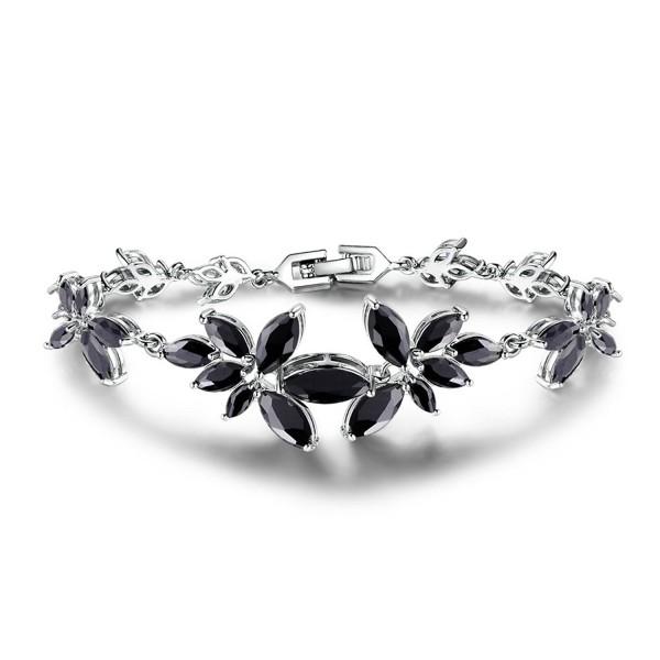GULICX Women's CZ Silver Tone Black Flower Statement Girl Bracelet - CW124TM9I3V