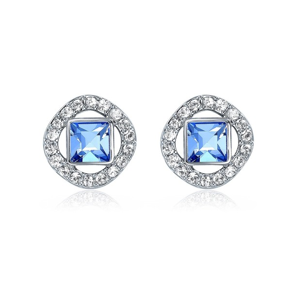 MYJS Angelic Square Earrings with Swarovski Light Sapphire Crystals Rhodium Pt - CS186IHEY7Z