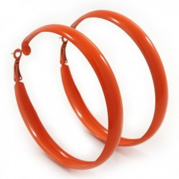 Large Orange Enamel Hoop Earrings - 6cm Diameter - CV110W25J9F