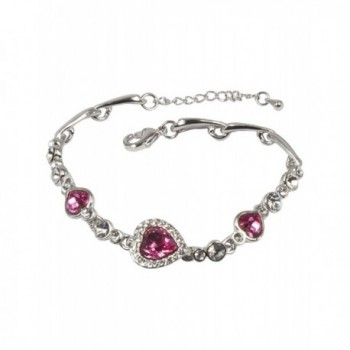 Dahlia Women's Bracelet - Heart Shaped Swarovski Elements Crystal - Pink - C911Y5O3SJ9