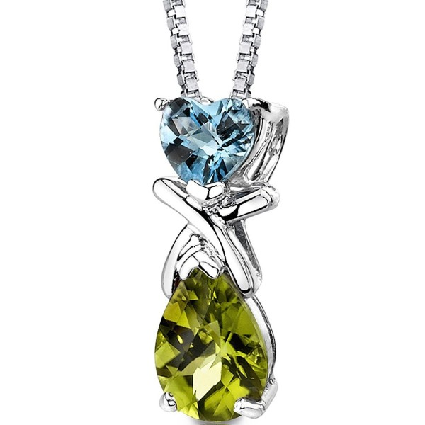 Swiss Blue Topaz and Peridot Pendant Necklace Sterling Silver 3.00 Carats - CN113RDDBSH