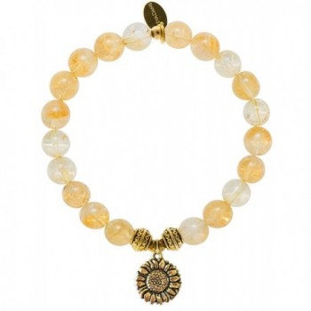 EvaDane Natural Citrine Gemstone Tibetan Bead Sunflower Charm Stretch Bracelet - CV12DR21689