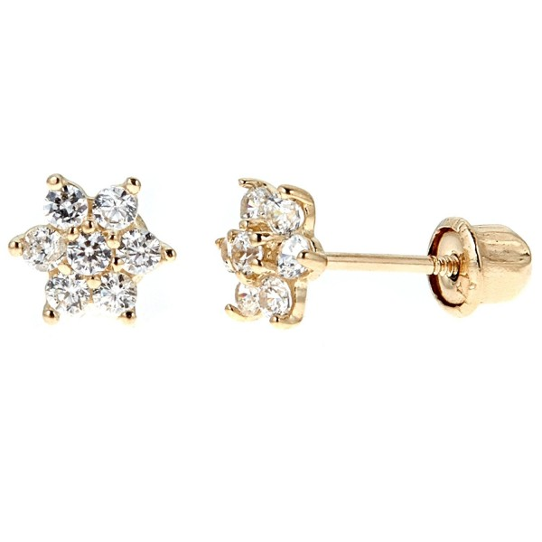 Children's 14k Yellow Gold Cubic Zirconia Baby Flower Screw Back Stud Earrings (Pink or White Flower) - White - CM12O5NTKJ8