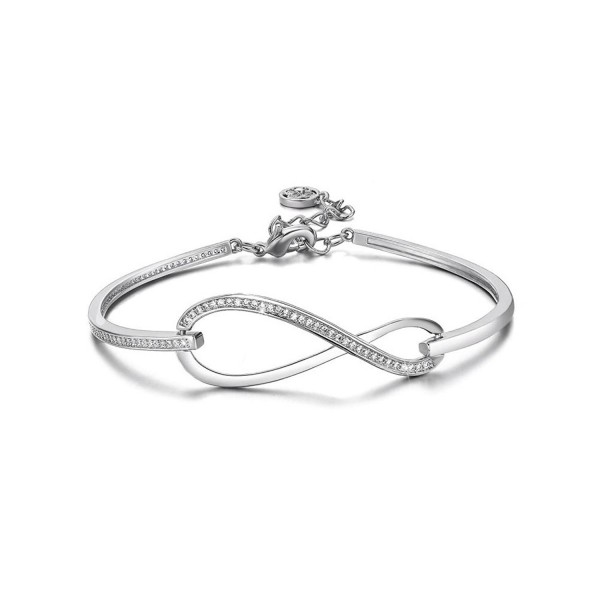 SPILOVE CZ Crystal 18k Gold Plated Infinity Bangle Endless Love Charm Adjustable Bracelets - white - CS1882N3O76