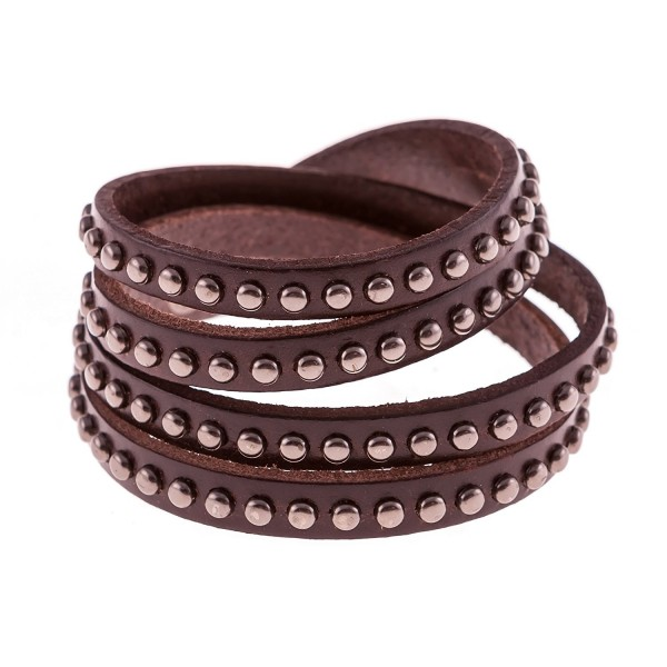 True Heart Style Genuine Leather Wrap Round Studded Cuff Bracelet - Chocolate Brown - CC11S89OZ35