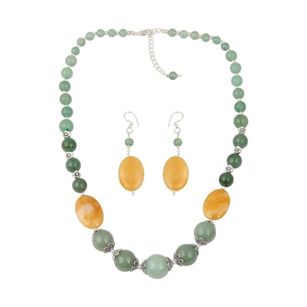 Aventurine Beaded Necklace and Earrings Dangling Trendy Fashion Jewelry Set for Women - CG12MWVXCMF