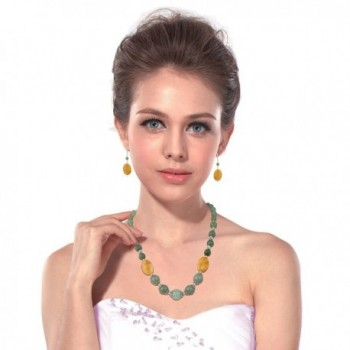 Aventurine Necklace Earrings Dangling Fashion