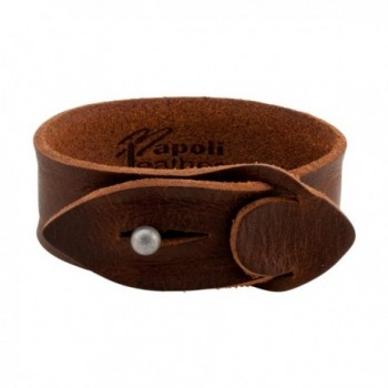 Brown Distressed Napoli Leather Slit Closure Simple Strap Bracelet- 11 inches - C812I6S3SJT