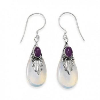 Amethyst and Blue Sea Opal Glass Drop Leaf Sterling Silver Earrings - CC1139WTG8F