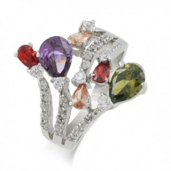 JanKuo Jewelry Rhodium Plated Multi Color Cocktail Rings - CZ123HWPNE7