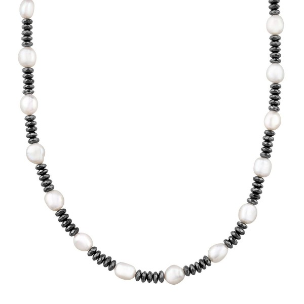 Honora Baroque Freshwater Cultured Pearl & Hematite Strand Necklace in Sterling Silver - CC12G8LXJ9F