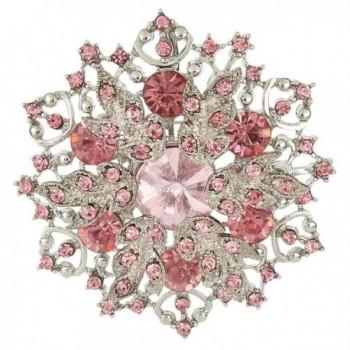 EVER FAITH Austrian Crystal Elegant Winter Snowflake Corsage Brooch Pin - 2 Inch x 2 Inch - Pink - CS11Y7U6VR7