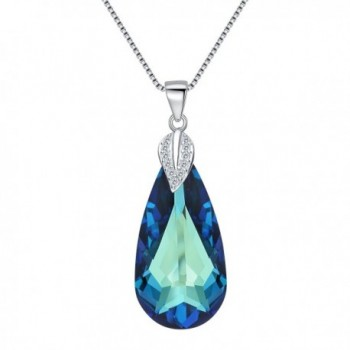 EleQueen 925 Sterling Silver CZ Teardrop Leaf Pendant Necklace Made with Swarovski Crystals - Bermuda Blue - CF12O8ONUZR