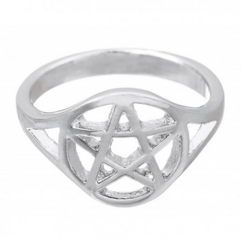 Men's Wiccan Pentacle Pentagram Ring Witchcraft Pagan Women Wide Band Ring Size 7.5 - CO1888L0MUZ