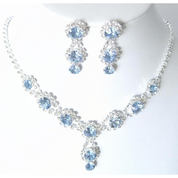 Stunning Y Drop Evening Party Lite Blue Crystal Necklace Earring Bling Rhinestone A3 - CT11FABYOXT