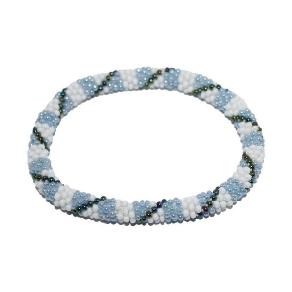 Crochet Glass Seed Bead Bracelet Roll on Bracelet Nepal Bracelet SB629 - C6127W6S2Z1
