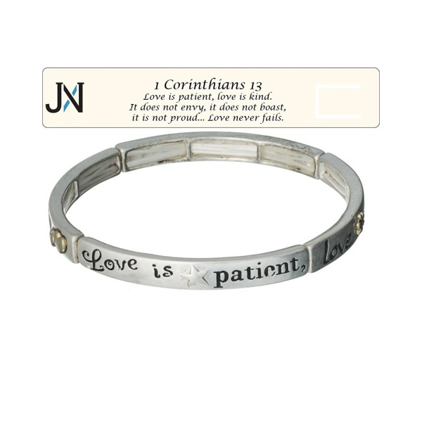 Love is Patient- Love is Kind Silver-tone Bracelet 1 Corinthians 13 with Bookmark by Jewelry Nexus - CY11CY2ENG1