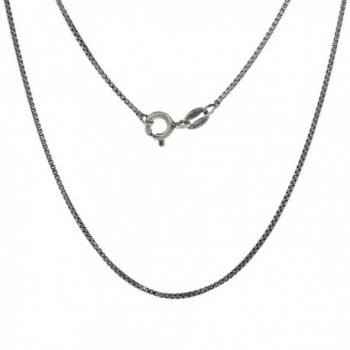 Sterling Silver Box Chain Necklace 1mm Antiqued Finish Nickel Free Italy- Sizes 16 & 18 inch - CF114O5D5D3