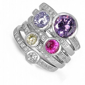 Sterling Silver Womens Multicolor Stackable in Women's Stacking Rings