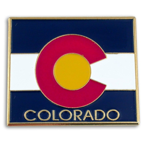 """PinMart's State Shape of Colorado and Colorado Flag Lapel Pin 1-1/8"""" - CB119PEP261"""
