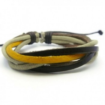 APECTO Leather Brown & Yellow Ropes Braided Surfer Wrap Bracelet Handmade- SM21 - C612BXORPW9