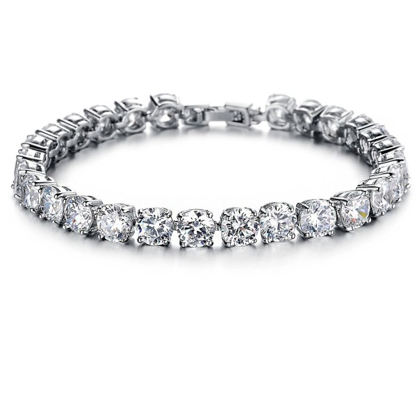 OPK Jewelry Platinum Plated Women Tennis Bracelet with Clear Cubic Zirconia - C2122XUTXM7